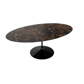 Saarinen Oval Dining Table 78'', Natural Marble - Blk.Emperador