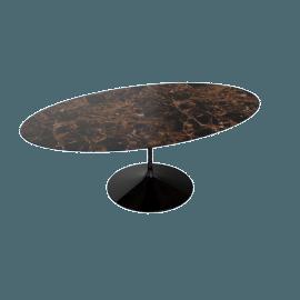 Saarinen Oval Dining Table 78'', Natural Marble - Blk.Emperador