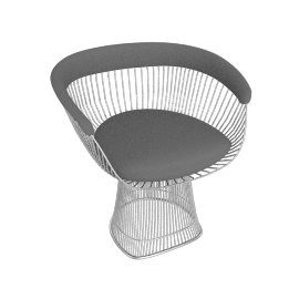 Platner Armchair, Nickel frame and Knoll Boucle - Smoke