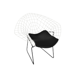 Bertoia Two-Tone Diamond Lounge Chair with Seat Pad, Basket: White Frame: Black Seat Pad: Black
