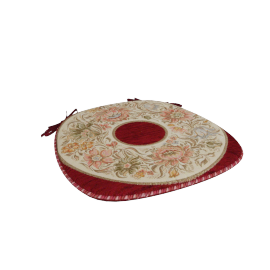 Majolika Jacquard Chair Pad, Red