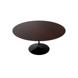 Saarinen Round Dining Table 60'', Veneer - Black.DrkWalnt