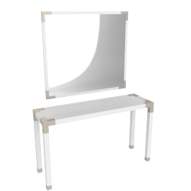 Hazel Console With Mirror, HG White/Gold