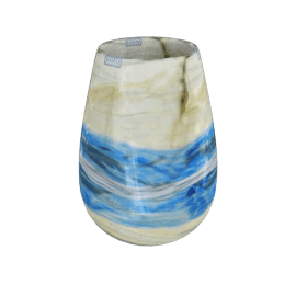Gozo Glass Barrel Vase, Blue