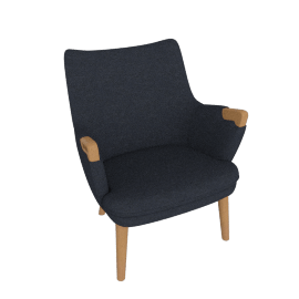 CH71 Lounge Chair, Oak, Dark Navy