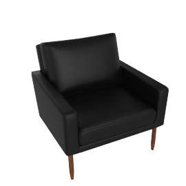 Raleigh Armchair, Walnut Frame, Black Kalahari Leather