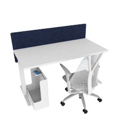 Ergonomic Starter Bundle, White Frame, Heathered Navy Screen