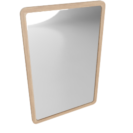 Rounded Corner Mirror, White, 75 x 50cm, Natural