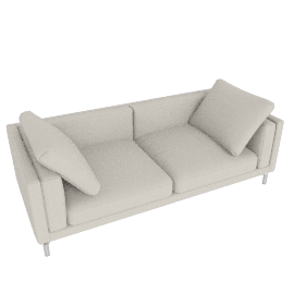 "Como 92"" Sofa in Leather, Gesso"