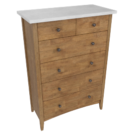 Springfield Chest Of 6 Drawers-L.Oak/A.Silver