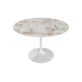 Saarinen Round Dining Table 42'', Coated Marble 1 - Wht.Arabescato