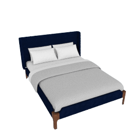 Roscoe King size bed, Royal Blue Velvet