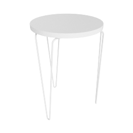Florence Knoll Hairpin Stacking Table, White Top White Base