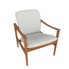Model 711 Chair, Walnut, Boucle White Seat