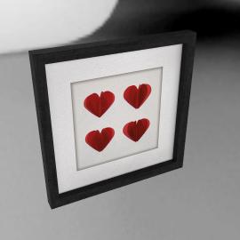 Hearts Red Framed 3D Laser Cut, 24 x 24cm
