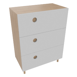 3 Drawer Tall Chest, Smoke
