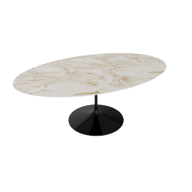 Saarinen Oval Dining Table 78'', Natural Marble - Blk.CalacGold