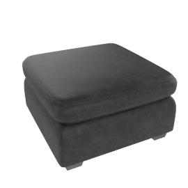 Samson Leather Footstool, Black