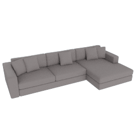 Reid Sectional Chaise Right, Vienna Leather Warm Grey