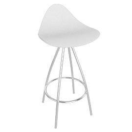 Onda Counter Stool Chrome - White - Matte.White