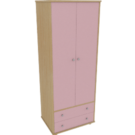 Corey 2 Door Wardrobe, Pink