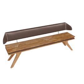 Wolfmoebel SHAN - Sitzbank mit PU Rückenlehne 180 cm