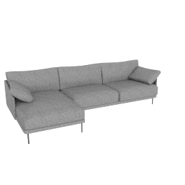 Camber Full Sectional Onyx Legs Left, Lama Tweed, Heather