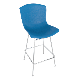 Bertoia Plastic Barstool, Blue Shell, Chrome Frame