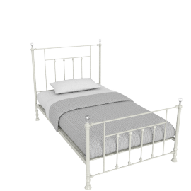 Alice 120x200 Metal Bed, Cream