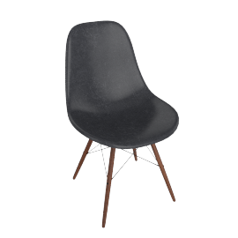 Eames Molded Fiberglass Dowel-Leg Side Chair (DFSW), Elephant Hide Grey with Black Base and Walnut Leg