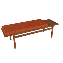 Jens Bench, Walnut, Ducale Wool - Persimmon