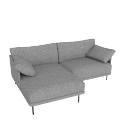 Camber Compact Sectional Onyx Legs Left, Lama Tweed Heather