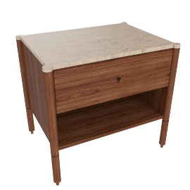 Morrison Bedside Table, Walnut, Crema Marfil