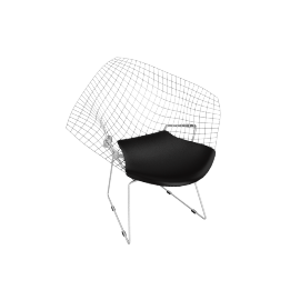Bertoia Diamond Lounge Chair, Chrome with Vinyl Seat Pad Black