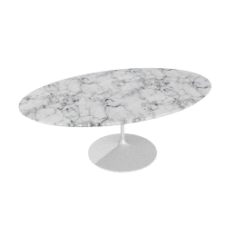 Saarinen Low Oval Coffee Table - Coated Marble 1 - Wht.Arabescato