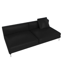 Como Armless Sofa, Black