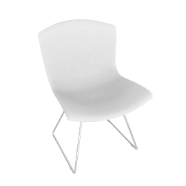 Bertoia Plastic Chair, White Shell, Chrome Frame
