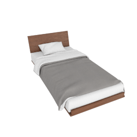 Nelson Thin Edge Twin Bed, Walnut