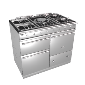 Lacanche Macon LG1053GECTSSCHA Dual Fuel Cooker, Stainless Steel / Chrome Trim