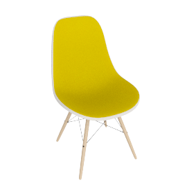 Eames Molded Fiberglass Upholstered Dowel-Leg Side Chair (DFSW)