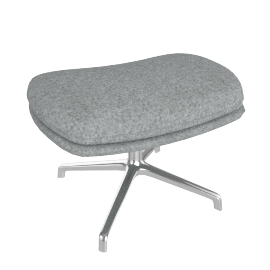 Striad Ottoman, Noble Heathered Grey with Chrome base