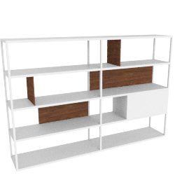 Kai Shelving Wide, White/Walnut