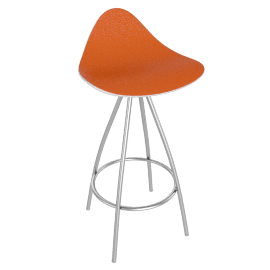 Onda Counter Stool Stainless - White.Orange