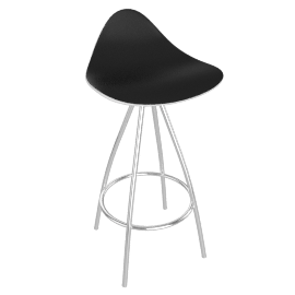 Onda Counter Stool Chrome - Shny.WhtBlack