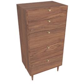 AmericanModern Dresser - 5 Drawer High - Walnut