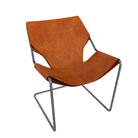Paulistano Armchair in Canvas - Orange.Black