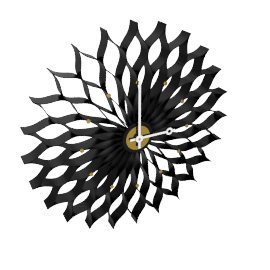 Sunflower Clock, black
