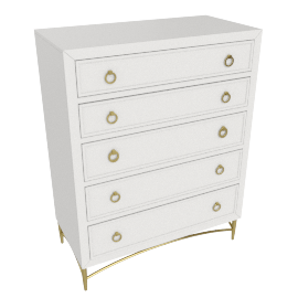 Adele Chest Of Drawers-Light Cream-Gold