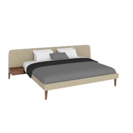Parallel Wide King Bed Walnut legs, , Ducale Wool Tumbleweed