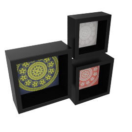 Oriental Set of 3 Wall Shelf, Black